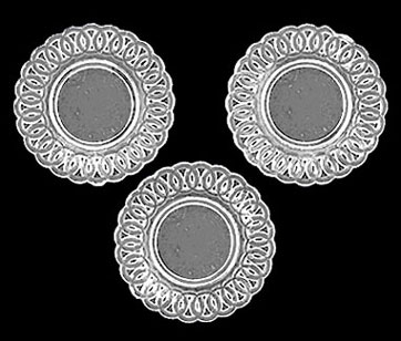 Dollhouse Miniature Lace-Edged Plates, 3Pc Crystal Clear