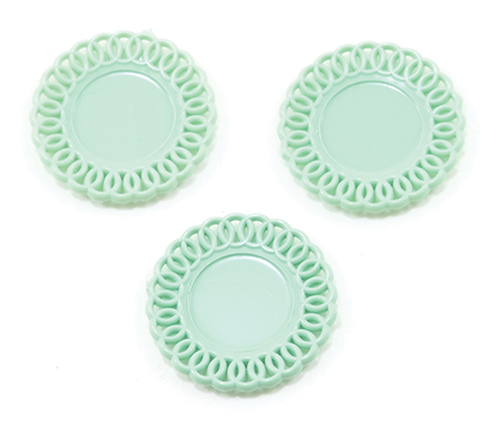 Dollhouse Miniature Lace-Edged Plates, 3Pc, Jadeite