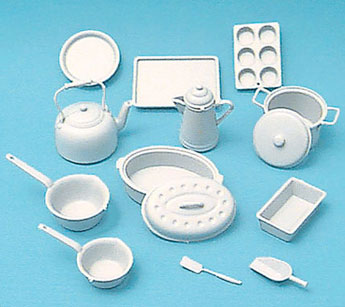 Dollhouse Miniature Cookware Kit, White, 14Pcs