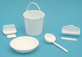 Dollhouse Miniature Sink Accessories, White