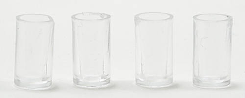 Dollhouse Miniature Assorted Tumblers-Rimmed/Non-rimmed 4Pk