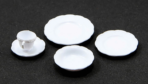 Dollhouse Miniature One Place Setting, 5Pc/White
