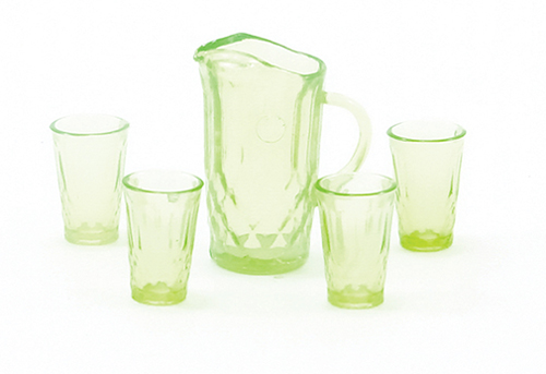 Dollhouse Miniature Pitcher W/4 Glasses, Green