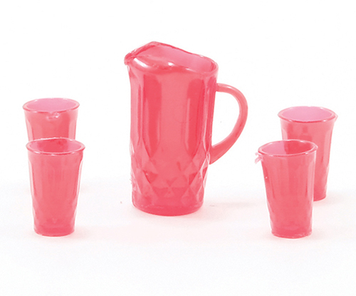 Dollhouse Miniature Pitcher W/4 Glasses, Red