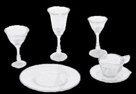 Dollhouse Miniature 4-Place Table Setting, Crystal
