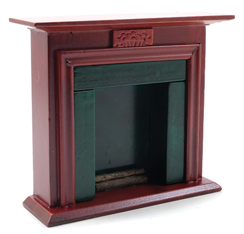 Dollhouse Miniature Fireplace, Black Marble, Mahogany