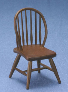 Dollhouse Miniature Windsor Side Chair, Walnut