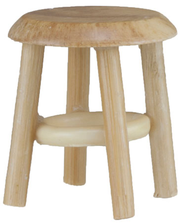 Dollhouse Miniature Stool, Oak