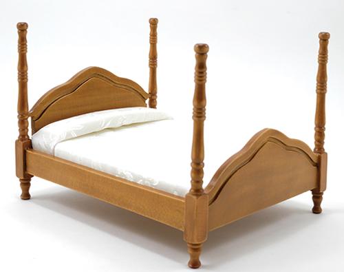 Dollhouse Cannonball Bed, Walnut, Assorted Fabrics, CLA10081 | Just ...