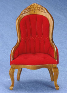 Dollhouse Miniature Victorian Lady's Chair, Burgundy