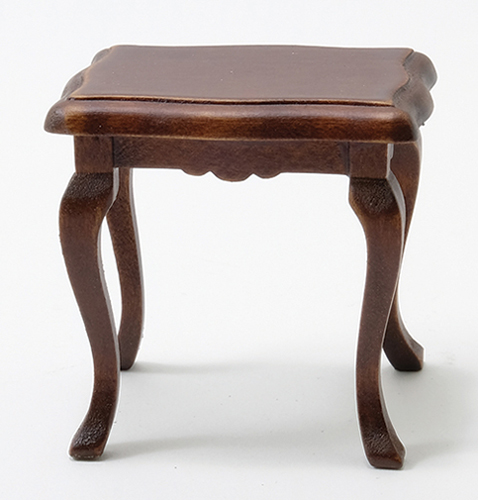 Dollhouse Miniature Side Table, Walnut