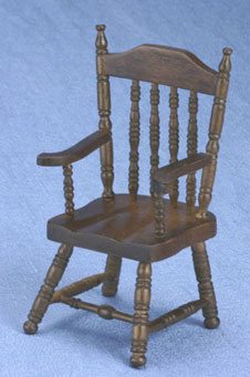 Dollhouse Miniature Armchair, Walnut