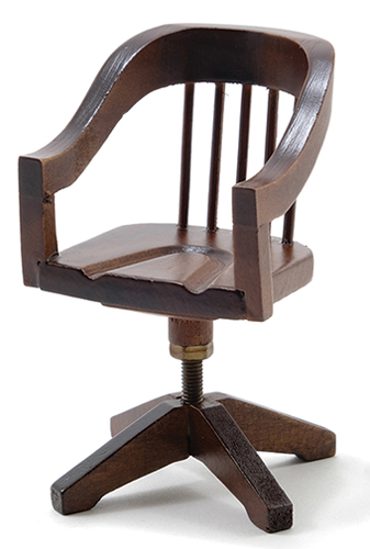 Dollhouse Miniature Swivel Desk Chair, Walnut