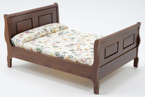 Dollhouse Miniature Sleigh Bed, Walnut