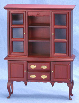 Dollhouse Miniature China Hutch, Mahogany