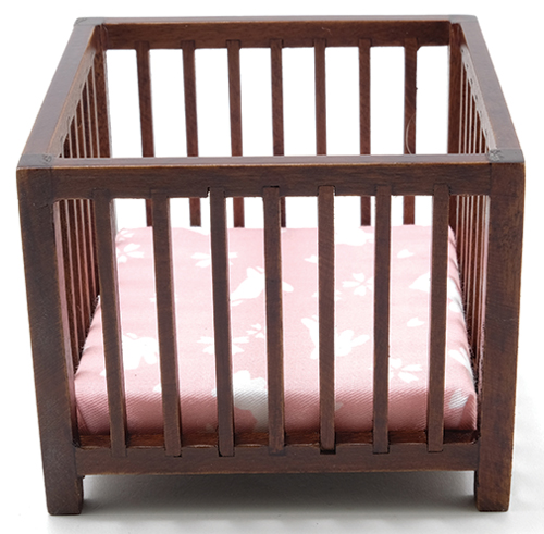 Slatted Play Pen, Walnut with Pink Fabric