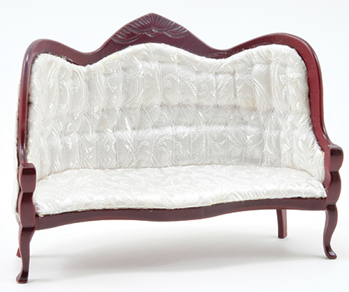Dollhouse Miniature Victorian Sofa, Mahogany with Blue and Gold Fabric