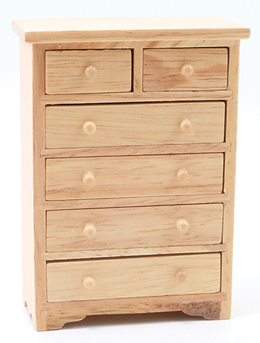 Dollhouse Miniature Chest Of Drawers, Oak