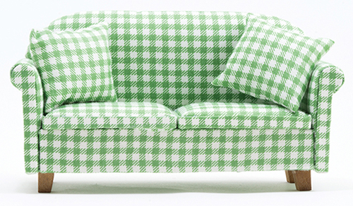 Dollhouse Miniature Sofa with Pillows, Green/White Checked
