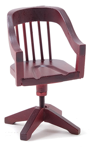 Dollhouse Miniature Desk Chair, Mahogany