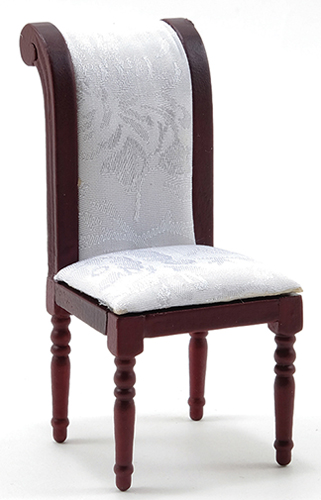 Dollhouse Miniature Side Chair, Mahogany with White Fabric