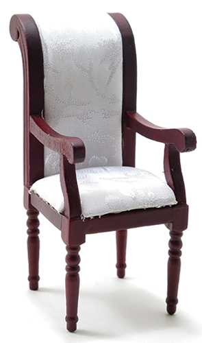 Dollhouse Miniature Armchair, Mahogany with White Fabric