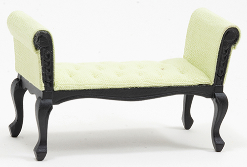 Settee, Black With Green Fabric