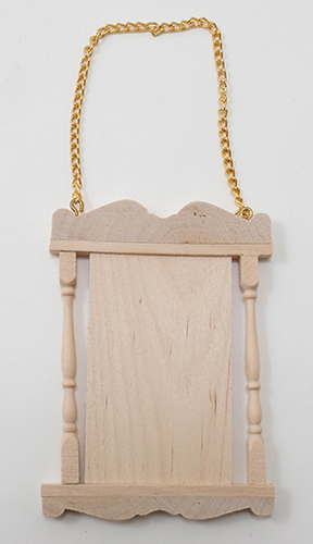 Dollhouse Miniature Wooden Hanging Sign with Chains