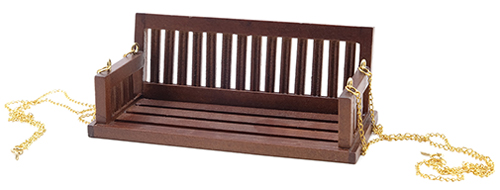 Dollhouse Miniature Porch Swing, Walnut