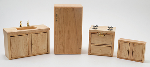 Dollhouse Kitchen Set 4 Pc Oak Cla91245 Just Miniature Scale