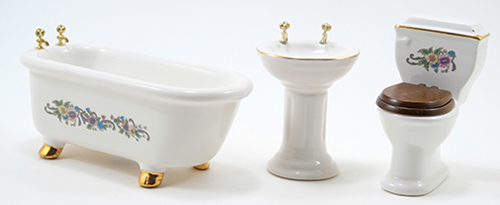 Dollhouse Miniature Bathroom Set, 3 pc, Ceramic