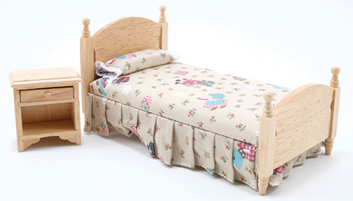 Dollhouse Miniature Bed & Night Stand, Oak