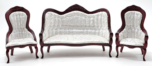 Incredible Dollhouse Victorian Sofa And Chair Set 3Pc Mahogany White Theyellowbook Wood Chair Design Ideas Theyellowbookinfo