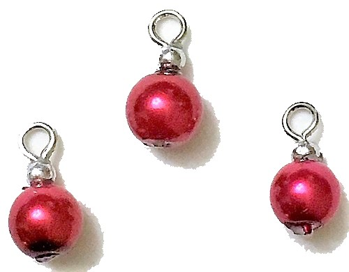Red Pearl Ornaments, Pkg. 3