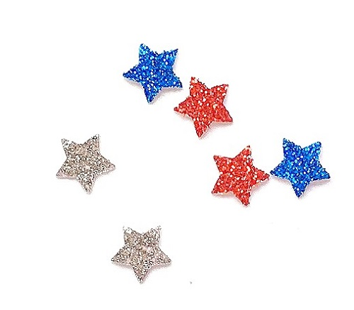 Red, Silver, Blue Stars, approx. 50