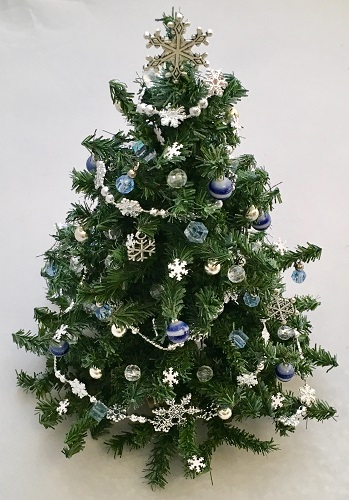 Blue and Silver Snowflake Christmas Tree