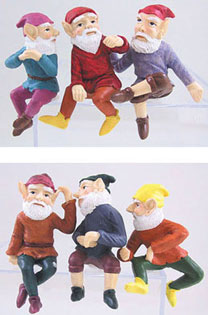 Dollhouse Miniature Small Gnome 2 3/4 Assorted 6Pc Set