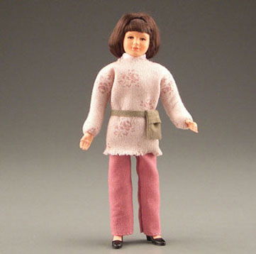 Dollhouse Miniature Mom W/Rose Slacks