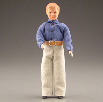 Dollhouse Miniature Blonde Dad In Khaki Pants