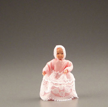 Dollhouse Miniature Baby In Pink Dress