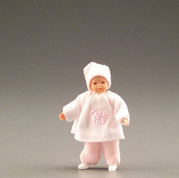 Dollhouse Miniature Baby In Pink W/Pink Bear