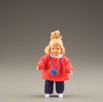 Dollhouse Miniature Little Girl In Red/Blue