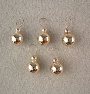 Dollhouse Miniature Silver Ball Ornaments, 5/Pk