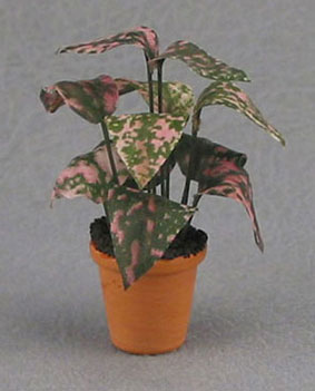 Dollhouse Miniature Pink/Green Plant