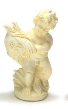 Dollhouse Miniature Angel W/Fish Statue, Ivory