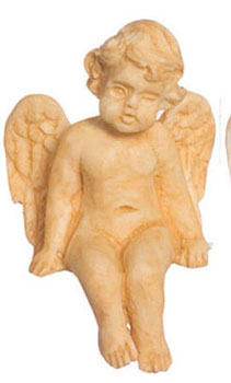 Dollhouse Miniature Sitting Cherub 2Pcs Tan