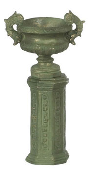 Dollhouse Miniature Ancient Urn W/Base 2 Sets Green