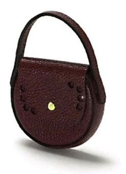 Dollhouse Miniature Lady's Handbag, Brown