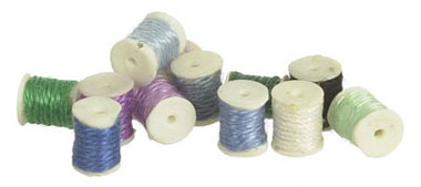 Dollhouse Miniature Sewing Thread, Set Of 12