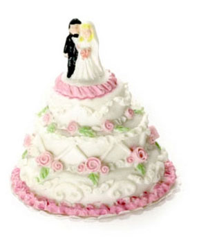 Dollhouse Miniature Wedding Cake, Small, 2Pc